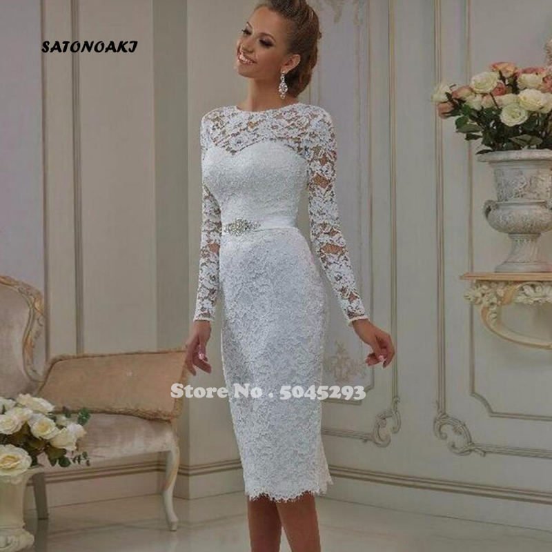 SATONOAKI Vintage Tea Length Lace Long Sleeves Short Wedding Dresses 2020 Vestido De Noiva Sheath High Jewel Neck Bridal Gowns