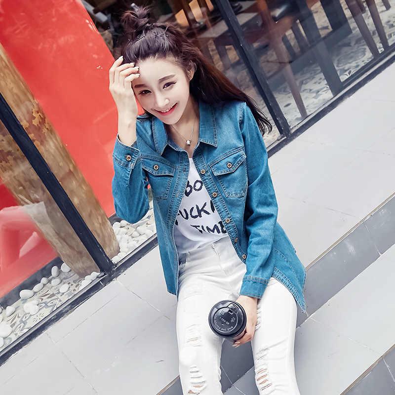 Vrouwen 2019 Lange Mouwen Slim Jeans Shirt Casual Vintage Elastische Dames Denim Shirts Tops Blusas Feminina Vrouw Blouses En Tops