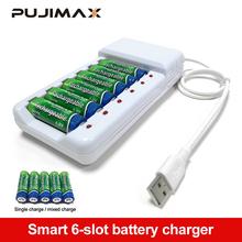 PUJIMAX 6 slotów szybka ładowarka ładowarka kabel USB ochrona przed przeładowaniem AA akumulator AAA stacja wysokiej jakości tanie tanio PJN601UW Wyjście USB Standardowa bateria white AA AAA rechargeable batteries 140*70*30mm 194 5g 6 slots universal fast charging