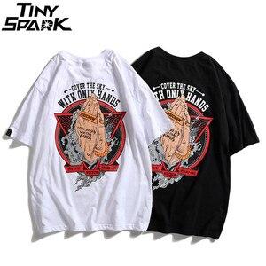 Image 4 - 2020ฤดูใบไม้ผลิHip Hopเสื้อTชายที่มีประสิทธิภาพมือพิมพ์เสื้อยืดHarajuku Streetwearฤดูร้อนTshirtเสื้อแขนสั้นTeesผ้าฝ้าย