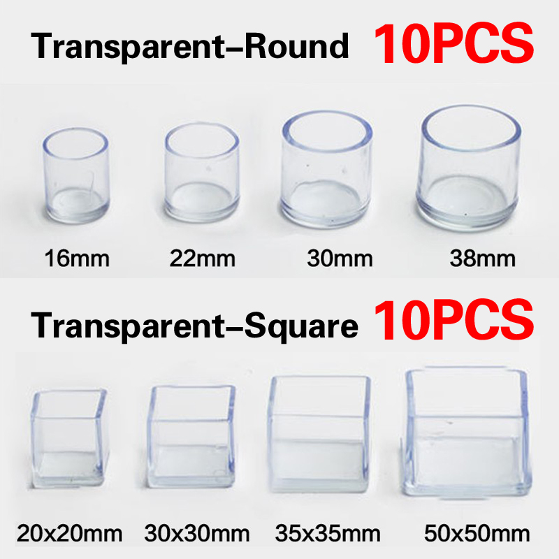 10Pcs/lot PVC Chair Table Leg Floor Protector Foot Cover Transparent Black Non-slip Furniture Floor Protector Pads Round Square