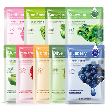 1PC Blueberry Six Fruit Plant Facial Mask Moisturizing Hyaluronic Acid Plant Extract Oil Control Hydrating Sheet Face Mask TSLM2