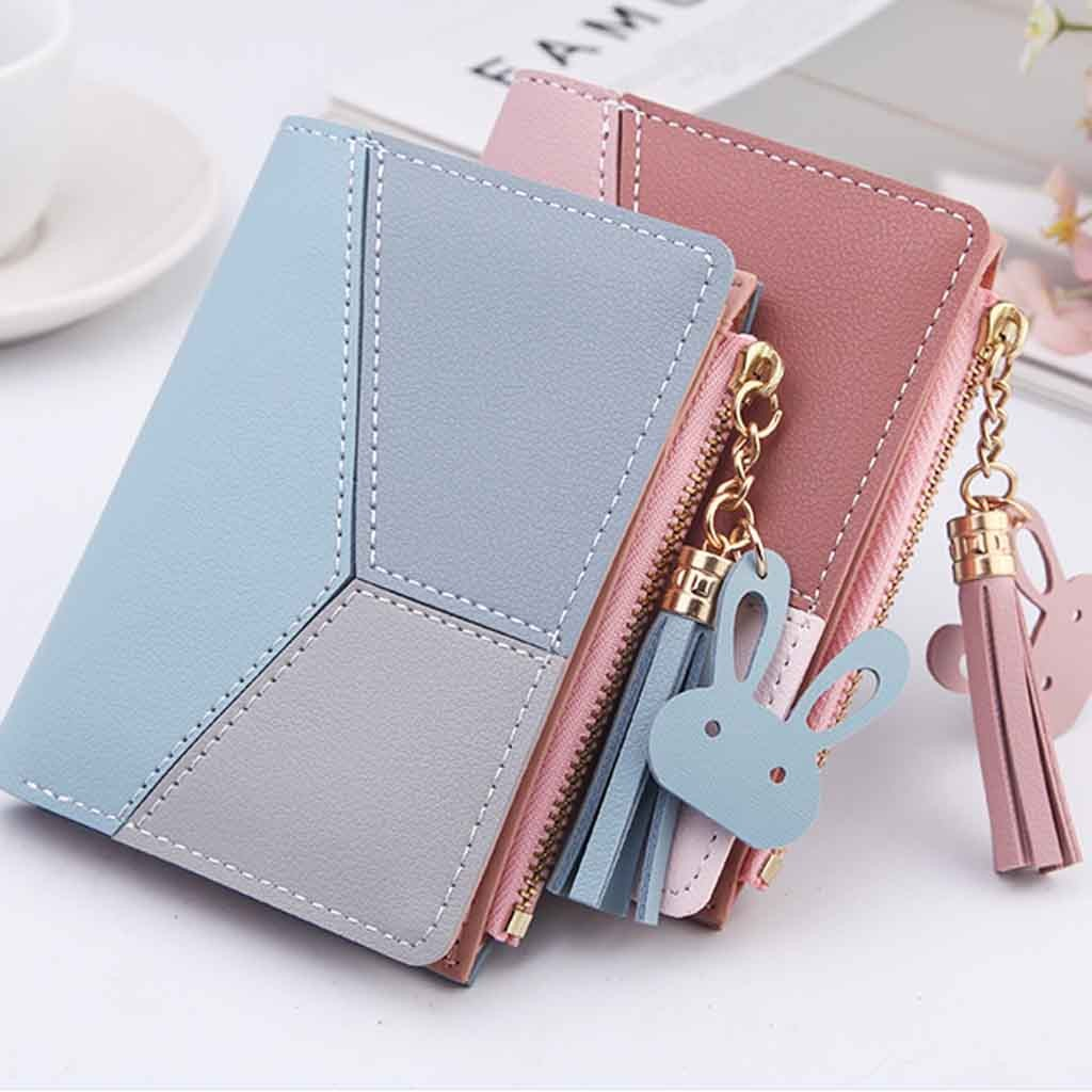 New Ladies Wallet Short Coin Purse Fashion Trend Buckle Zip Bag Tassel Wallet New Ladies Wallet Short Contrast Stitching #20|Wallets| |  - title=