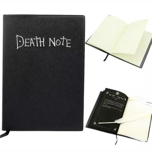 A5 Anime Death Note Notebook Set Leather Journal and Feather Pen Travel Notebook Journal Death writing book Gift for boyfriend 3
