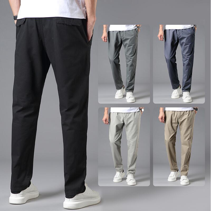 Men Medium Waist Elastic Pants Solid Color Drawstring Straight-Leg Trousers Loose-Fit Plus-sized Lard-bucket Middle-aged Men's T