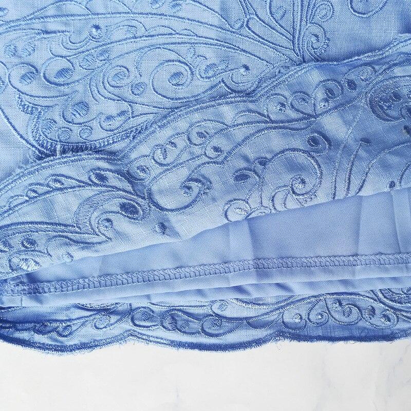 Mulheres de Vestido do vintage Azul Branco Bordado Floral Oco out Lattern Manga Botões Gola Mandarim Outono Primavera Dropshipping - 6
