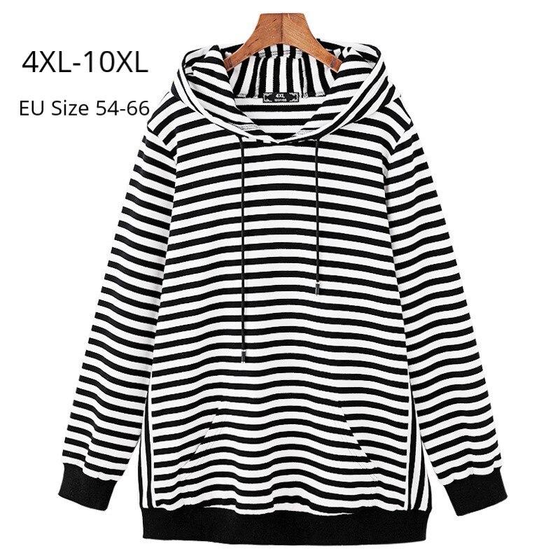 Plus Size 10XL 8XL 6XL Women Spring Autumn Long Sleeves Sweatershirts Female Black White Striped Hooded Tops Femininas Hoodies