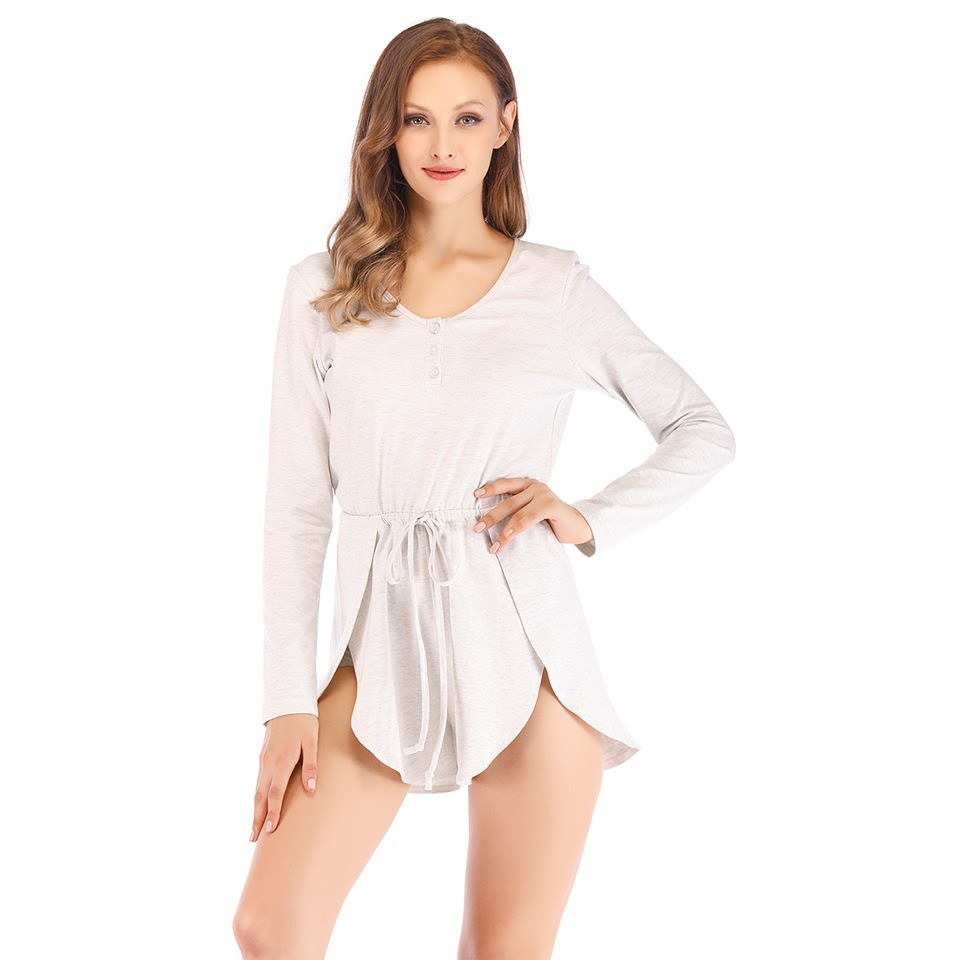Women's Sleepwear Sexy Pajama Set Lace O-Neck Pajamas Long Sleeve Top and Shorts Homewear
