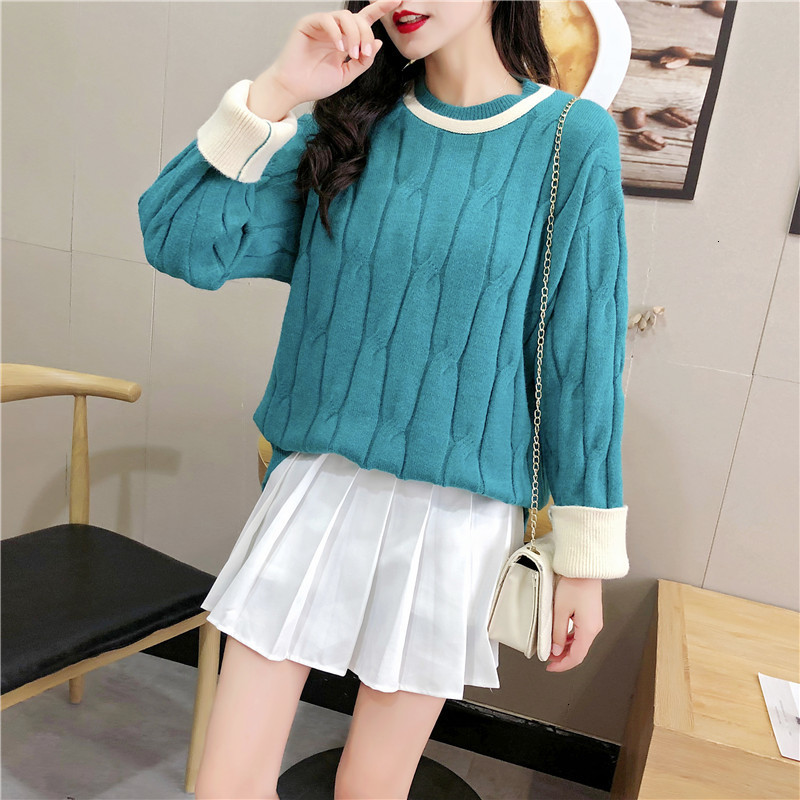Stripe All Match Thick Warm O-Neck Autumn Knitwear Sueter Mujer Loose Soft Knitted Sweater Pullover Long Sleeve Fashion Women