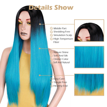 Ombre Blue Green Straight Long Synthetic Wigs For Women Black Pink Wigs 24 inch can be Cosplay Wigs Heat Resistant  I's a wig 3