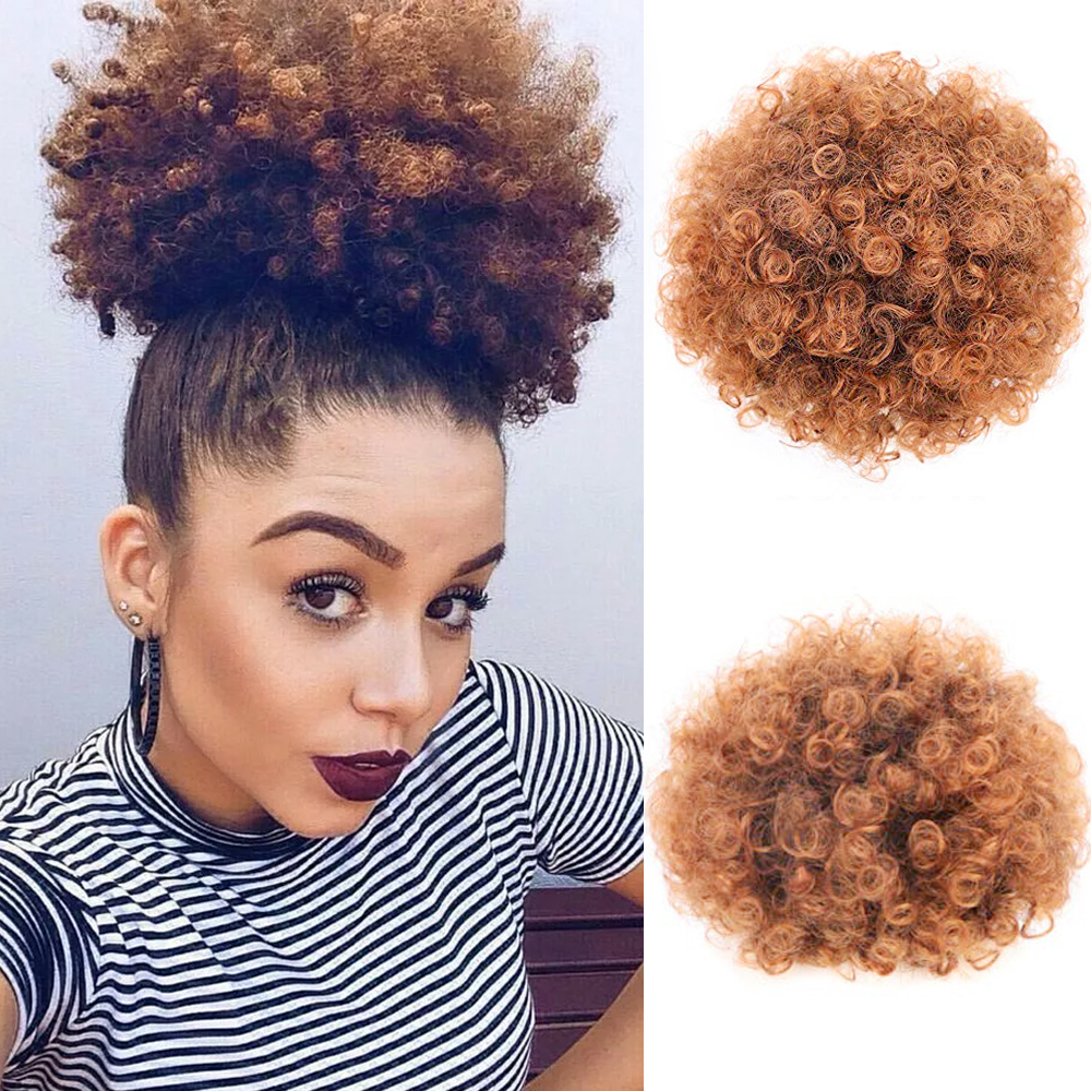 MODERN QUEEN Synthetic Puff Afro Short Kinky Curly Chignon Hair Bun Drawstring Ponytail Wrap Hairpiece Fake Hair Extensions