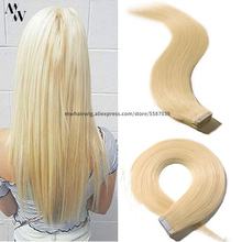 """MW лента для наращивания человеческих волос, блонд, черный, натуральные волосы Remy, прямые волосы, невидимые на клеях, 12 """"-24"""""""