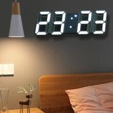 Hooqict 3D Led Digitale Grote Wandklok Modern Design Home Woonkamer Decoratie Datum Temperatuur Kalender Alarm Tafel Klok