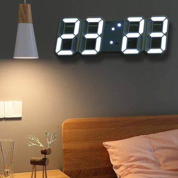 HOOQICT 3D LED Digital Large Wall Clock Modern Design Home Living Room Decoration Date Temperature Calendar Alarm Table Clock