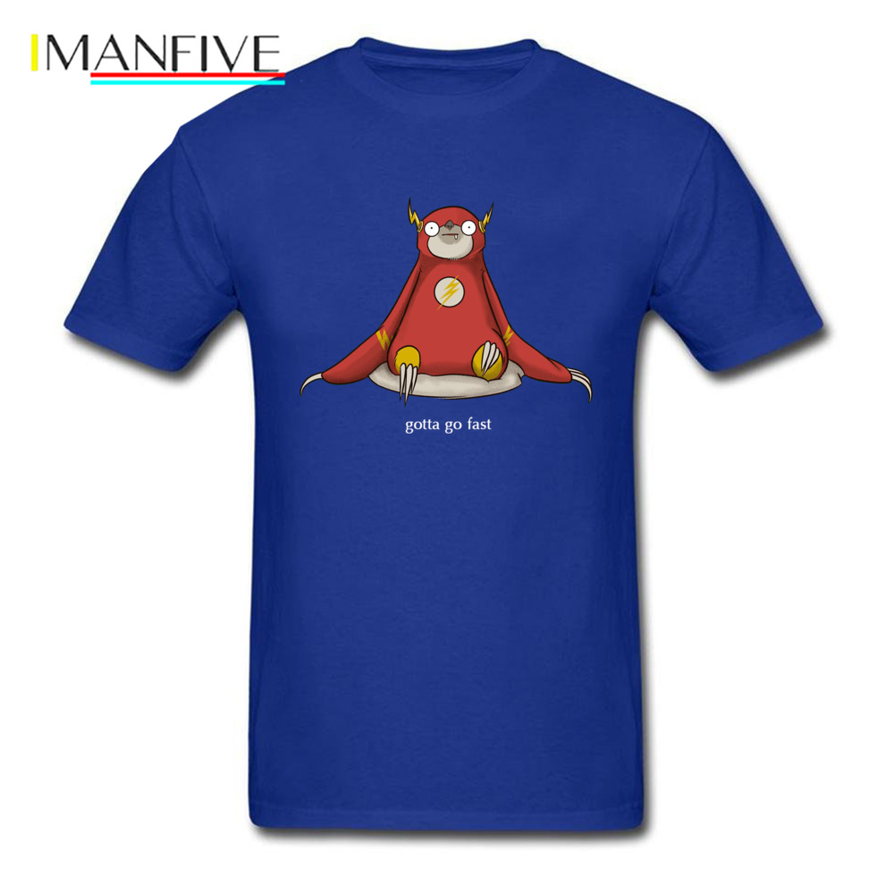 Gotta Go Fast Flash Sloth <font><b>OM</b></font> <font><b>Tshirt</b></font> Meditation Buddhist Cultivation Sloth SuperHero Comfortable T-Shirt 100% Cotton O-Neck Man image