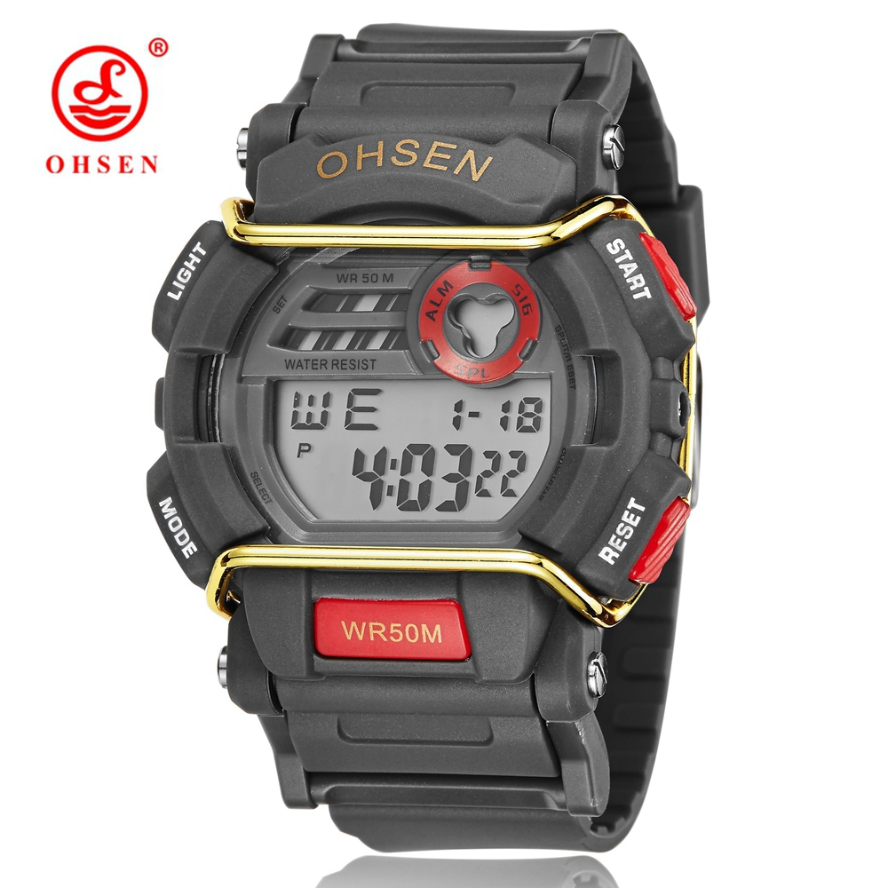 OHSEN Electronic Digital Men's Watch Stopwatch Fashion Red silicone Sport Man Watch Led Waterproof male clocks montre homme