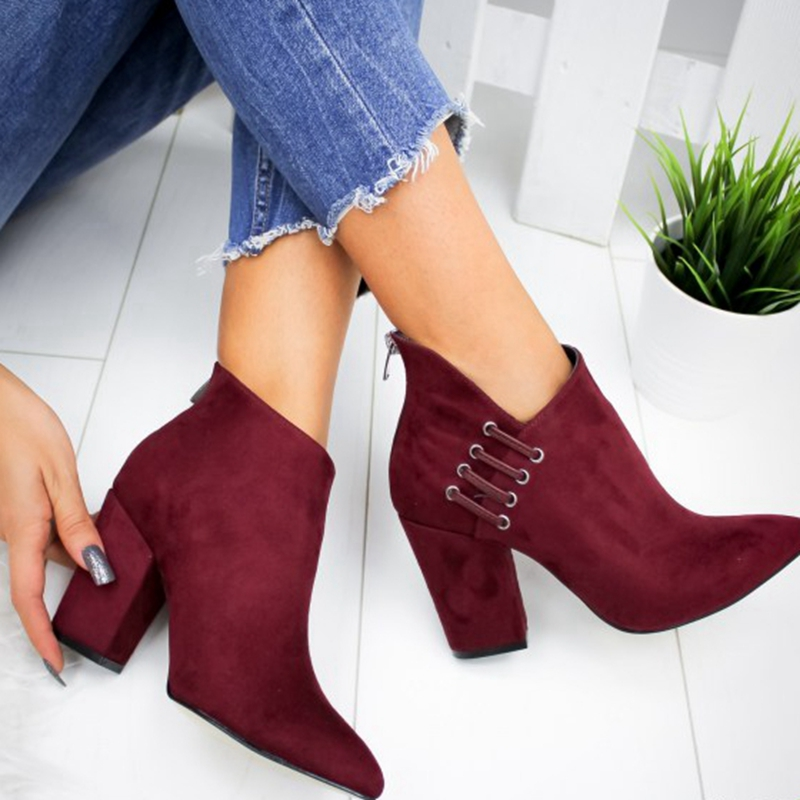 SHUJIN 2019 New Women Shoes Ankle Boots Sexy Short Boots High-heel Fashion Pointed Europe Shoes Woman Plus Size Dropshiping