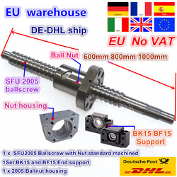 DE kostenloser MEHRWERTSTEUER SFU2005 Kugelumlaufspindel Kit L 600/800/1000mm ende bearbeitet mit mutter & BK/ BF15 Unterstützung & Mutter gehäuse für CNC router