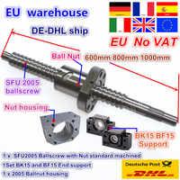 End de livre vatssfu2005 ballscrew kit l 600/800/1000mm final usinado com porca & bk/bf15 suporte & porca habitação para cnc roteador
