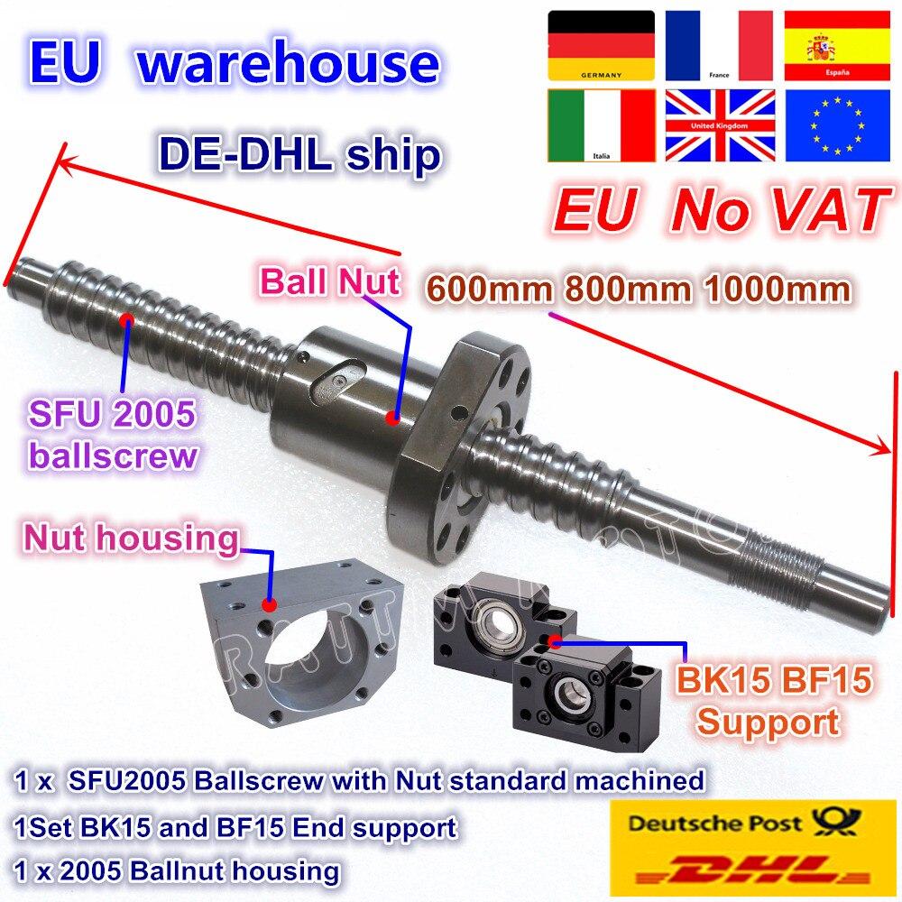 Kit DE vis à billes sans tva SFU2005 L 600/800/1000mm extrémité usinée avec écrou et Support BK/BF15 et boîtier d'écrou pour routeur à CNC