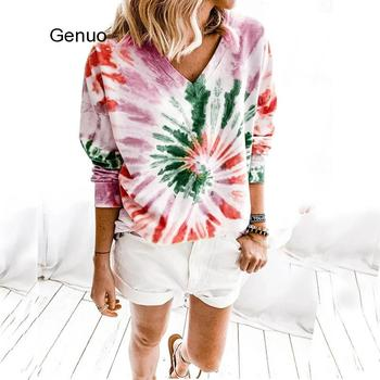 2020 Womens Casual V-neck Shirt Long Sleeve Tie Dye Print Loose Tops Fashion Pullover Autumn Winter