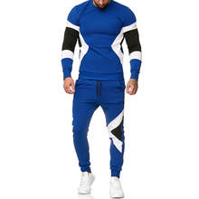 MenS Set2019 New Fashion Color Set Foreign Trade Large Size Outdoor Sports And Leisure Fitness Jogging  S-XXL