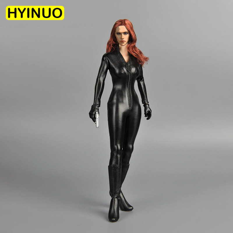 1/6 <font><b>Scale</b></font> Model Woman <font><b>Sexy</b></font> Lady Black Widow Clothes Female Black One-piece Women's Leather Clothing Set f 12