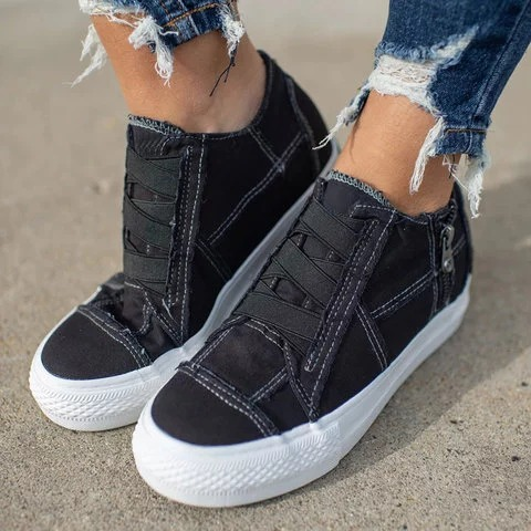 2020 Women Casual Shoes Woman Ladies Canvas Vintage Girls 5CM Heels Travel Sneakers Ladies Dropshipping