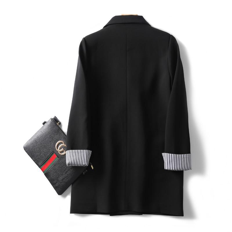 Large Size Stylish Ladies Blazer Simple Solid Black Casual Loose Suit Jacket Abrigos Mujer Korean Office Women Jacket MM60NXZ