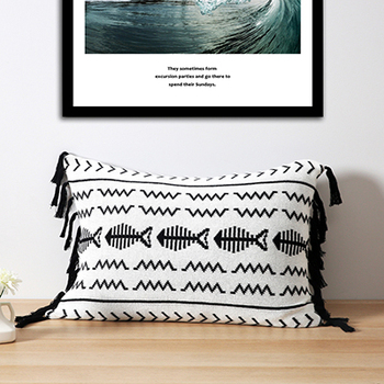 Black white fish knitted cushion
