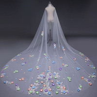 2019 New White/Ivory Colored flowers Cathedral Length Lace Edge veil Mantilla Wedding Accessories Veu De Noiva EE892