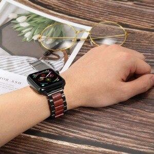 Image 5 - טבע עץ & נירוסטה רצועת השעון עבור iWatch אפל שעון סדרת 5 4 3 2 1 44mm 42mm 40mm 38mm אדום אלמוג להקת רצועה