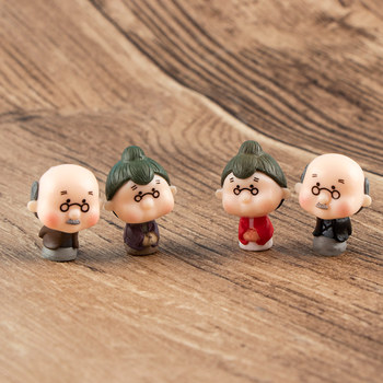 1 Set Kawaii Cute Grandfather Grandmother Old Couple DIY Crafts Home Garden Ornaments Micro Landscape image