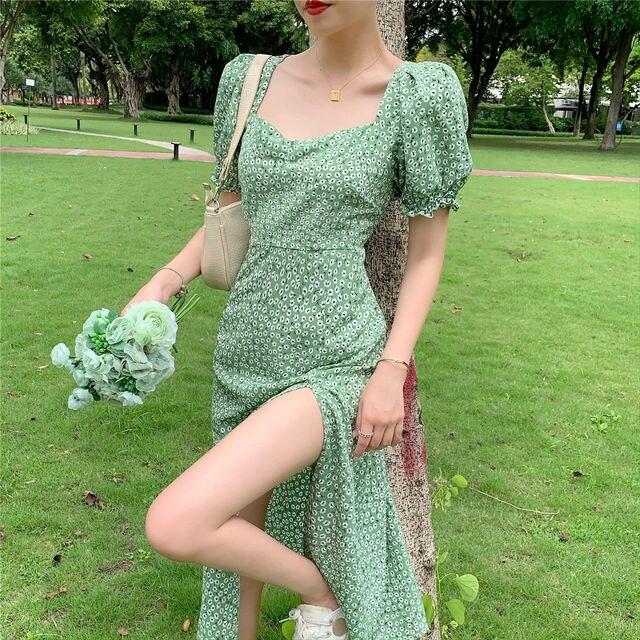 Summer_Floral_Dress_Women_French_Style_Puff_Sleeve_Chiffon_Split_Fairy_Dress_Sexy_Elegant_Korean_Sty 6