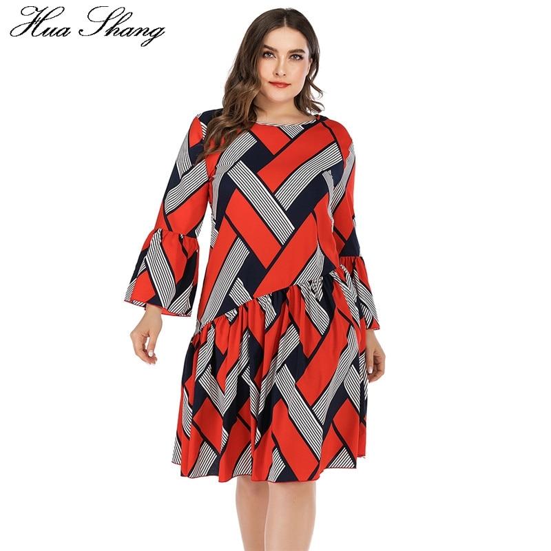 5XL Plus Size Casual Dress Women Long Sleeve Plaid Striped Print Patchwork Midi Dress Red Ladies Tunic Ruffles Beach Dresses