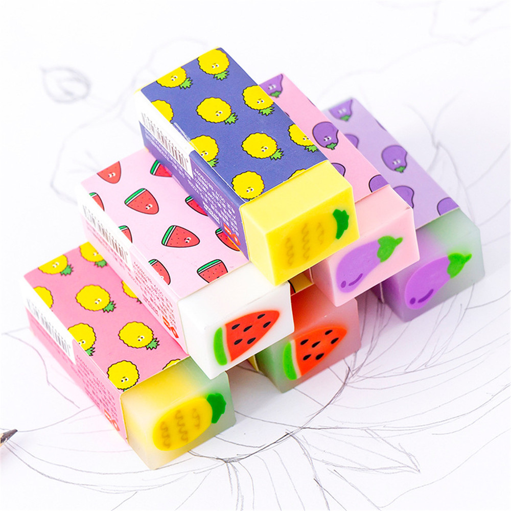 1 Pcs Creative Small Fresh Fruit Core Eraser Rubber Eraser Primary Student Prizes Promotional Gift Stationery