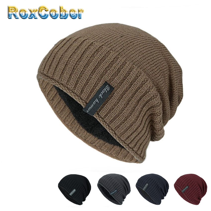 RoxCober Winter Warm Knitted Hats   Skullies     Beanies   Hats for men women Bonnet Wool Scarf Caps Gorros Male Warm Solid   Beanie   Hat
