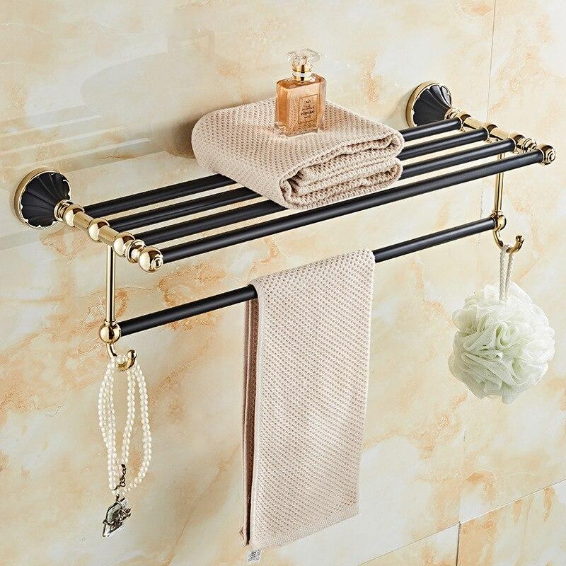 American-Style Black And Golden Towel Rack Wall Hangers Bathroom Towel Rack Pendant Toilet Bathroom Shelf Hardware Pendant Set