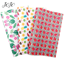 JOJO BOWS 22*30cm 1pc Faux Synthetic Leather Fabric For Needlework Watermelon Printed Sheet Home Textile DIY Bows Apparel Sewing jojo bows 22 30cm 1pc synthetic leather fabric for crafts mermaid printed faux sheet for needlework bag apparel sewing materials