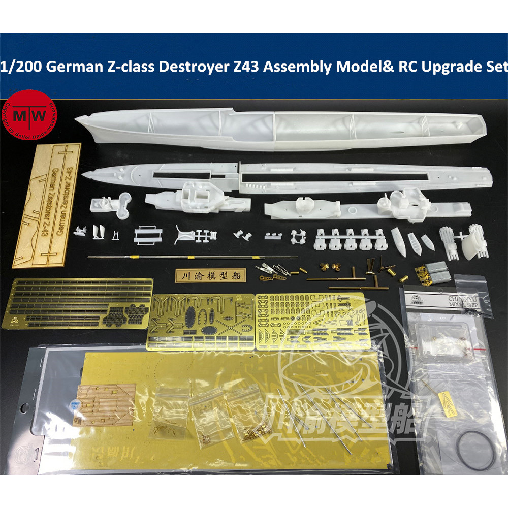 1/200 Scale German Z-class Destroyer Z43 Assembly Model Kit & RC Upgrade Set TMW00086