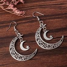 цена на Vintage Crescent Moon Earrings Moon Dangle Earrings Handmade Statement Earrings Women Earrings Aretes De Mujer