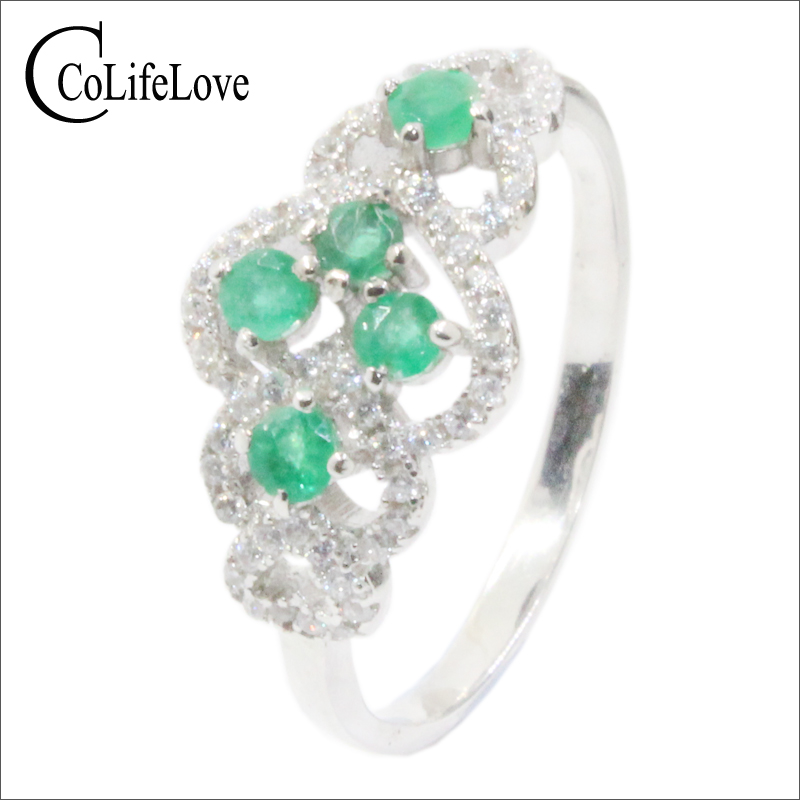 CoLife Jewelry Vintage Emerald Ring 5 Pieces Natural Emerald Silver Ring For Party 925 Silver Emerald Jewelry Girl Gift