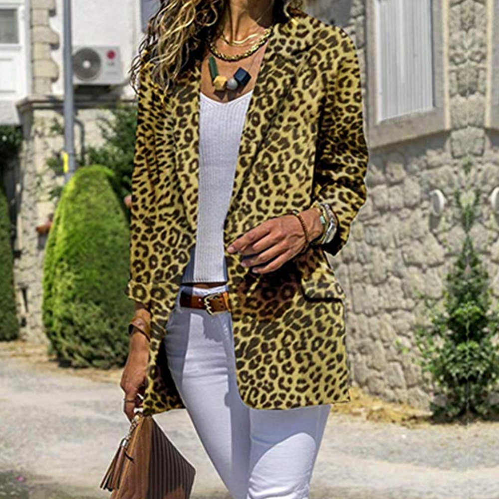 LOOZYKIT Women Vintage Sexy Leopard Print Blazer Long Sleeve Coat 2019 Fashion Female Outerwear  Feminine Tops