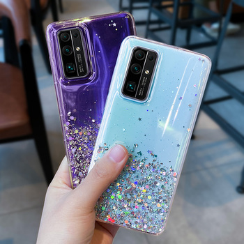 Bling Glitter Star Phone Case For Samsung Galaxy A51 A50 A71 A31 A10 s8 S10 Plus Note 20 ultra silicone Transparent Funda cover image