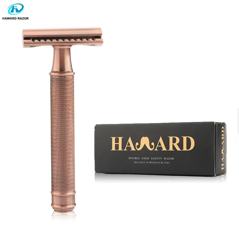HAWARD Safety Razor Men's Double Edge Razor Classic Manual Shaver Vintage Copper Shaving Razor Hair Removal Shaver Brass Handle