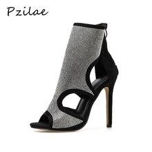 Pzilae Botas de tacón alto de aguja con punta abierta para mujer, botines, sandalias altas, adorno de cristal, para verano