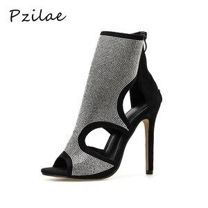 Image 1 - Pzilae Botas de tacón alto de aguja con punta abierta para mujer, botines, sandalias altas, adorno de cristal, para verano