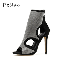 Pzilae New sexy open toe stiletto high heels women boots ankle high sandals boots ladies crystal bling summer boots shoes