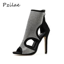 Pzilae جديد مثير المفتوحة تو الخنجر عالية الكعب النساء أحذية الكاحل عالية الصنادل أحذية السيدات كريستال بلينغ الصيف الأحذية الأحذية