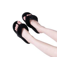 New Cross-Border Slippers Women's Plush Flip Flops Flip-Flops Flip-Flops Plush Slippers European and American Flat Casual